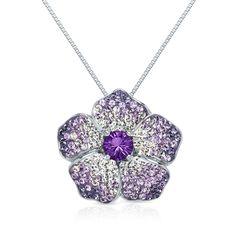 Violet Swarovski Crystal Flower Pendant in Sterling Silver by @Helzberg Diamonds Diamonds #necklace #jewelry #aislestyle