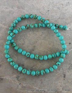 Dark Turquoise Synthetic 6mm Beads             by CedarCreekCanada
