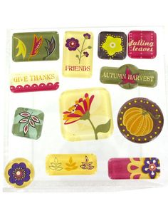 Fall Autumn Acrylic Tile Stickers by creativecraftsupply on Etsy, $3.00