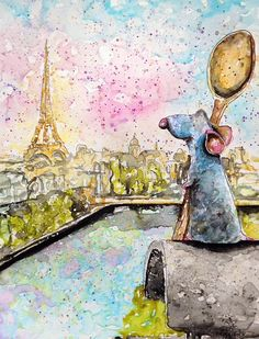 Amazing watercolor painting of Disney's Ratatouille by @triciakibler on Instagram