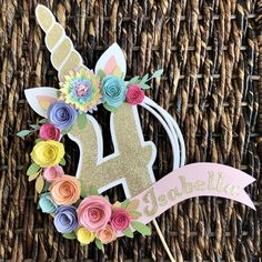 Flower Cake Toppers, Diy Cake Topper, Unicorn Cake Topper, Custom Cake Toppers, Birthday Cake Toppers, Unicorn Themed Birthday Party, Diy Birthday, Unicorn Party, Birthday Party Decorations
