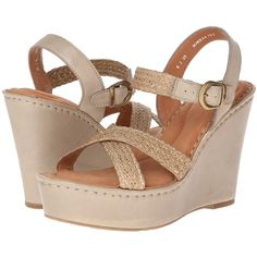 Born Estefania Women's Wedge Shoes, Beige ($36) ❤ liked on Polyvore featuring shoes, sandals, beige, wedges, summer sandals, platform sandals, strappy high heel sandals, adjustable strap sandals and leather strappy sandals