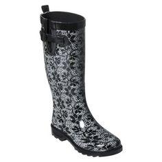 Womens Lacy Daisies Rain Boot - Black
