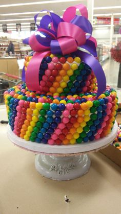 two tiered bubble gum cake