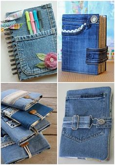 creative denim craft ideas tablet and book covers ideas clothes old jeans Diy Jeans, Diy With Jeans, Denim Art, Jean Crafts, Patchwork Jeans, Denim Ideas, Upcycled Crafts, Upcycled Textiles, Upcycled Clothing