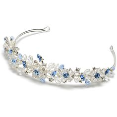 Blue Crystal Wedding Tiaras, Swarovski Crystals Blue Tiaras ($80) ❤ liked on Polyvore