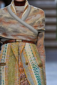 Missoni's A/W 2012 Collection was an array of textured earthy yarns and prints with references to nature. Their signature look was of course still evident