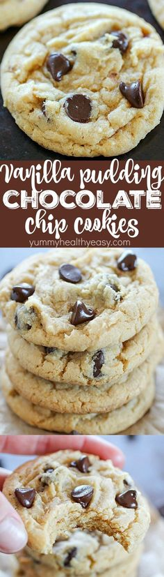 These Vanilla Pudding Chocolate Chip Cookies have vanilla pudding mixed inside the dough to give them a little flavor boost! They're soft & chewy in the middle with crispy edges. A family favorite cookie recipe we love! Plus more chocolate chip cookie Mini Desserts, Cookie Desserts, Just Desserts, Delicious Desserts, Dessert Recipes, Oreo Dessert, Dessert Bars, Yummy Cookies, Yummy Treats