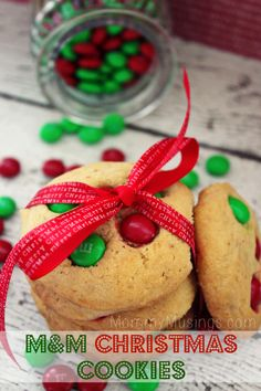 M&M Christmas Cookies Recipe - A classic recipe for delicious, soft & buttery holiday cookies. M&m Christmas Cookies Recipe, Holiday Cookies, Holiday Treats, Christmas Treats, Holiday Recipes, Christmas Christmas, Christmas Recipes, Homemade Christmas, Christmas Goodies