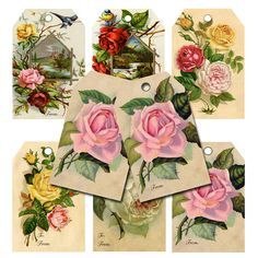 Instant Download Vintage Floral Tags by BubblewaterDesigns on Etsy