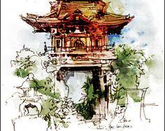 """Fine Art aquarelle d'imprimer sur la plume et encre dessin carnet de croquis - Golden Gate Park - San Francisco - porte japonaise - 8 x 10 """""""