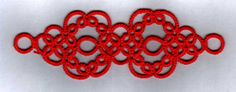 Bracelet or a broad Edging with multiple repeats! Tatting pattern & diagram at site.