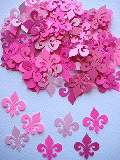 100 Parisian Pink Fleur De Lis punch die cut by ThePrettyPaperShop, $2.50