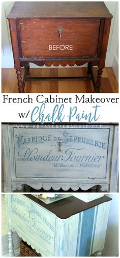 French styled cabinet makeover with graphics & Chalk Paint!
