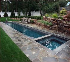 Narrow Pool With Hot Tub Firepit Great For Small Spaces In My