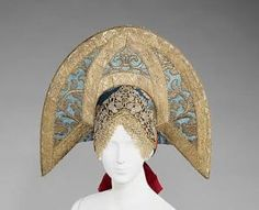 Headdress, Costume Institute Brooklyn Museum Costume Collection at The Metropolitan Museum of Art, Gift of the Brooklyn Museum, Gift of Mrs. Edward S. Harkness in memory of her mother, Elizabeth. Historical Costume, Historical Clothing, 1800s Clothing, Culture Russe, Style Russe, Russian Folk, Russian Style, Russian Art, Costume Collection