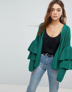 #Valentines #AdoreWe #ASOS - #Only Only Ribbed Cardigan With Ruffle Sleeves - Green - AdoreWe.com