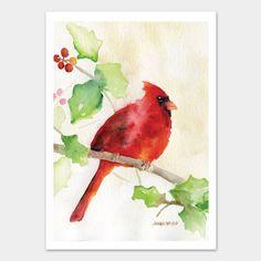 Cardinal and Holly Watercolor Christmas Card Set