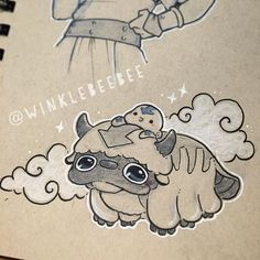 regram @winklebeebee September 20th #dailydrawing [Yip Yip]. Uuuugh today was a day. There's no stress like your internet going out when you're trying to file time-sensitive student loan paperwork but still! Avatar Week continues! #art #artstagram #drawing #illustration #sketch #sketchbook #doodle #ink #avatar #avatarthelastairbender #aang #appa #design #instaart #igdraws #creative_instaarts #sketch_daily #abeautifulmessapp