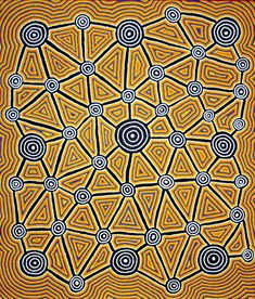 Une oeuvre récente de Cynthia Wheeler NAKAMARRA, peintre aborigène de la communauté de Yuendumu, Désert Central, Australie #artaborigene #contemporain #australie