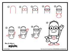 Wer liebt sie nicht, die kleinen gelben #Minions aus den Kinofilmen? Hier eine ganz kinderleichte Anleitung zum nachzeichnen. #Minions #Zeichnen #Kinderhelden | http://artforkidshub.com/