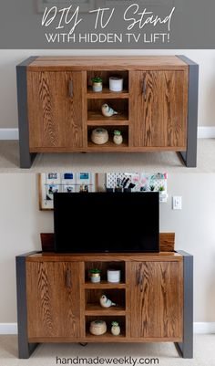DIY TV Stand with Hidden TV Lift. Full tutorial with build plans. This TV stand hides away your TV when not in use. #diyfurniture #diytvstand #tvstand #tvlift #woodworking #handmadefurniture Tv Furniture, Diy Furniture Plans, Handmade Furniture, Furniture Makeover, Painted Furniture, Furniture Projects, Diy Home Crafts, Diy Home Decor, Oak Veneer Plywood