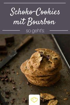 Die sind nur für Erwachsene: Cookies mit Schokostückchen und Bourbon. Übrigens auch eine schöne Geschenkidee für den Papa, Opa oder alle die zu einem guten Bourbon nicht nein sagen!
