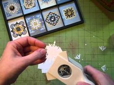 "Paper Punched Medallions ---------------  Looks like over-grown inchies to me  ;-)  recommended sqr dimensions:  1-3/4"" ; 2"" ; 2-1/2"".  She also made gift tags, gift bag, ornaments"