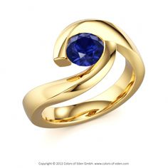 "Blue Sapphire Engagement Ring - ""Twist"""