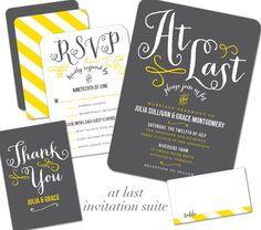 """At Last"" invite suite by Wedding Paper Divas."