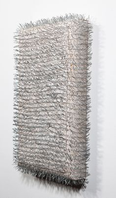 "Arthur Peña attempt 59  2013 pine, gesso and staples 7 1/2"" x 16"""