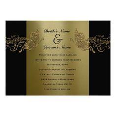Black GOld Butterfly Music Wedding Invitations