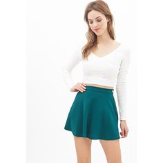 Forever 21 Women's  Crepe Skater Skirt (180 MXN) ❤ liked on Polyvore featuring skirts, bottoms, tops, white skater skirt, full length skirt, skater skirt, flared skirt and full length circle skirt