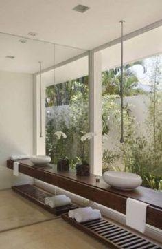 Green Interior Design, Bathroom Interior Design, Bathroom Designs, Spa Interior, Interior Windows, Style At Home, Modern Room, Modern Bathroom, Bathroom Black