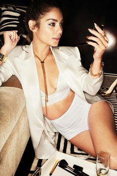 Vanessa Hudgens | Gold jewelry & white outfit - chain necklace, bracelet, bangle & rings