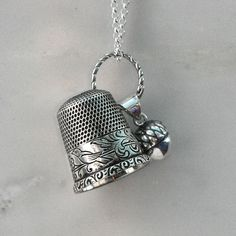 Peter Pan Kisses Thimble and Acorn Necklace Peter by HooliganAlley, $68.00  I cringe at what is done to these precious vintage thimbles yet I want one!!