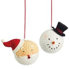 Santa & Snowman Golf Ball Christmas Ornaments