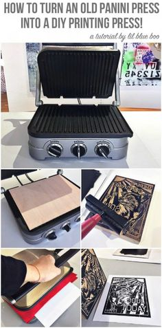 How to Make a DIY Printing Press from a Panini Press - How to make a simple DIY Printing Press to block print and linoleum cut print.