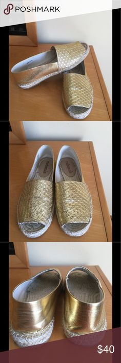Cubanas gold leather jute open toe espadrilles In very good condition , gently wear . Gold leather , open toe espadrilles . Made in Spain . Sz 41 EU .10 -10,5 US ❌Price firm . Anthropologie Shoes Espadrilles