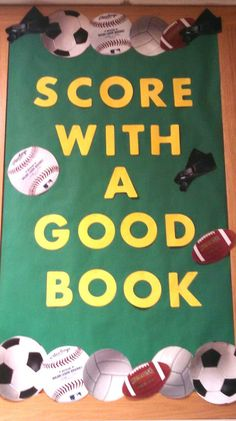 Score with a good book library display to promote sports books. Sports Bulletin Boards, Reading Bulletin Boards, Sports Theme Classroom, Bulletin Board Display, School Bulletin Boards, Library Ideas, Library Book Displays, Library Themes, Library Boards