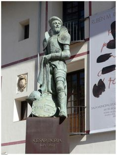 Statue of Cesare Borgia in the courtyard of the ancient University of Gandia, Spain founded by Francesco Borgia in 1549 with Borgia between myth and reality
