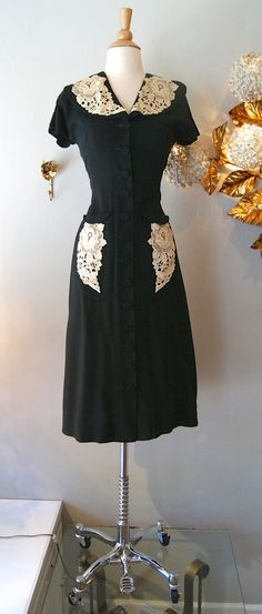 Vintage 1940's Dress // 1940s Gorgeous Black and by xtabayvintage, $175.00