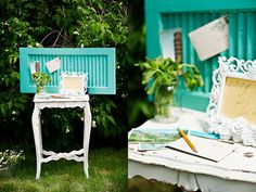 Possible guest book table: an old wood shutter painted (different color), then rubber stamp a sign that read 'drop us a line' and tucked it into a frame. Guests could write on some vintage (unused) postcards, then tuck them into the shutter.