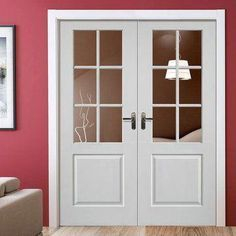 Interior French Doors White for the Palace Look - Modern Home Design French Doors Bedroom, Bedroom Doors, Wooden Bedroom, Interior Barn Doors, Room Interior, Interior Office, Luxury Interior, Interior Ideas, Interior Design Elements