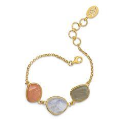 14 Karat Gold Plated Bracelet with Multicolor Rough Cut Moonstones