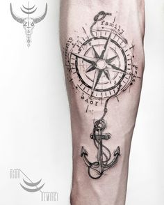 compass tattoo with sidro Anchor Tattoo Design, Compass Tattoo Design, Cross Tattoo Designs, Anchor Tattoos, Anchor Compass Tattoo, Body Art Tattoos, New Tattoos, Sleeve Tattoos, Tattoos For Guys