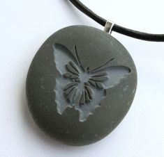 BUTTERFLY Necklace  Tiny PebbleGlyph C  engraved by sjengraving