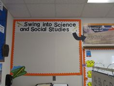 Swing into Science and Social Studies bulletin board baseball themed classroom Sports Theme Classroom, Kindergarten Classroom Decor, Social Studies Classroom, Future Classroom, Classroom Organization, Classroom Management, Classroom Ideas, Bilingual Classroom, Baseball Bulletin Boards
