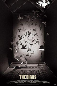 1963 - Die Vögel (The Birds) - Movie by Alfred Hitchcock Fan Poster, Bird Poster, Movie Poster Art, Poster Ads, Horror Movie Posters, Cinema Posters, Film Posters, Horror Movies, The Birds Movie