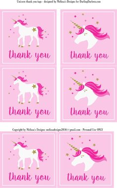 Unicorn Thank You Labels